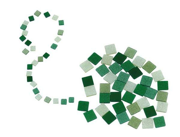 Mozaïek - glitter mix - 10 x 10 mm, groen