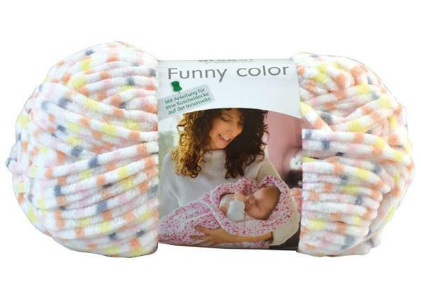 Wol Funny color - 100 g, geel-roze